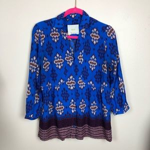 Anthro Maeve blue button down 3/4 sleeve blouse 6